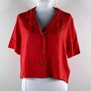 Wild Fable Crop Top NWT Red Button Down